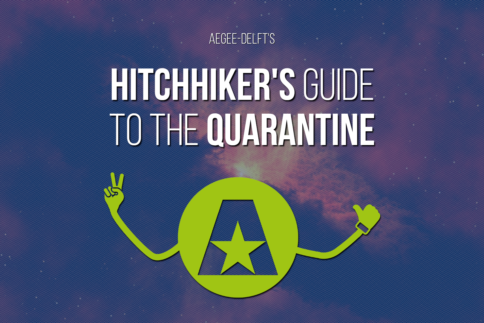 Hitchhiker's Guide to the Quarantine visual with a green alien floating in space